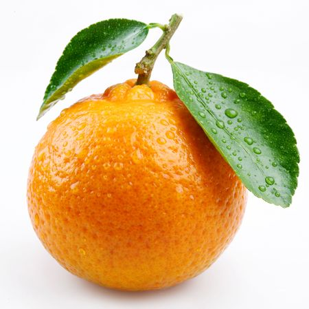 Tangerine with leaves on a white background Stock Photo - 5963178