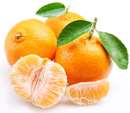 Tangerine with segments on a white background photo