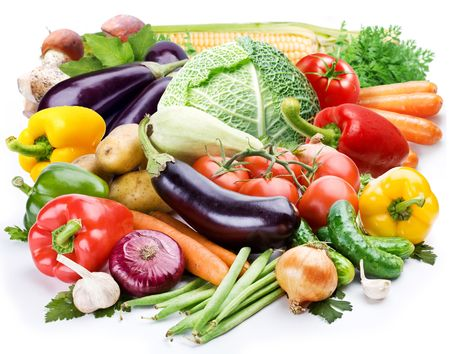 Group of fresh vegetables on a white background photo