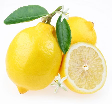 with lemon: Lemon with section on a white background Stock Photo