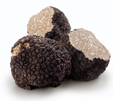 chocolate truffle: Black truffles on a white background Stock Photo