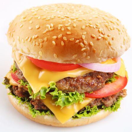 steak sandwich: Cheeseburger on a white background