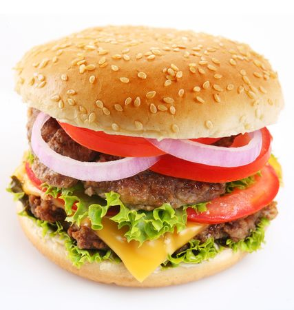 charbroiled: Cheeseburger on a white background