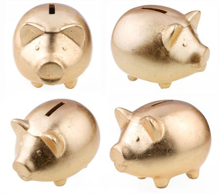 moneybox: gold pig as a money-box on a white background
