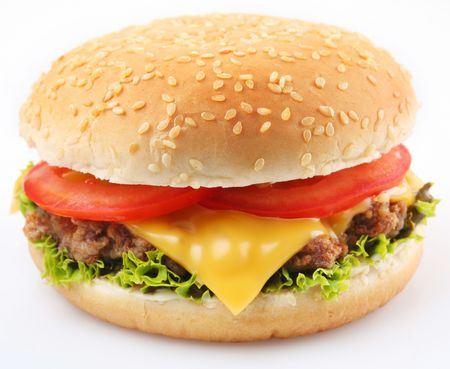 steak sandwich: Cheeseburger on a white background