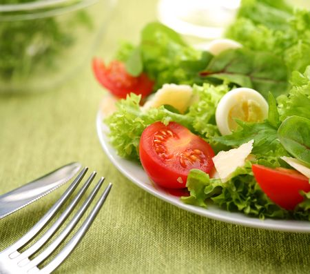 Fresh salad with tomato and quail eggs in a white bowl on a green tablecloth Stock Photo - 6305954