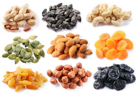 Groups of various kinds of dried fruits on white background Stock Photo - 6606722