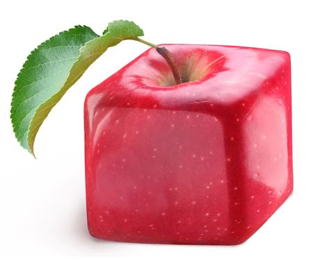 Cube apple on a white background photo