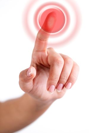 Red button pushed with finger Stock Photo - 6606773