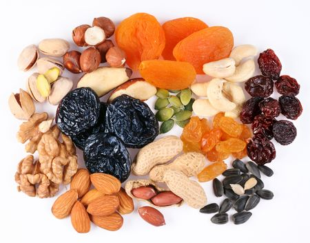 Groups of vaus kinds of dried fruits on white background Stock Photo - 6606825
