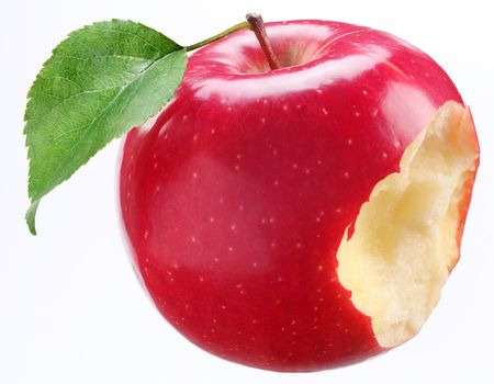 bitten: Bitten red apple on a white background
