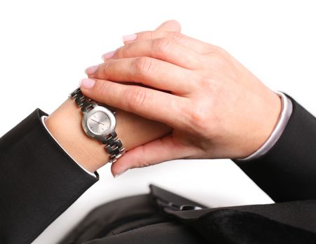 Businesswoman looks at his watch Stock Photo - 6649325