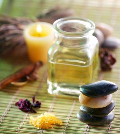 oil massage: Still life with massage oil in the spa salon Stock Photo