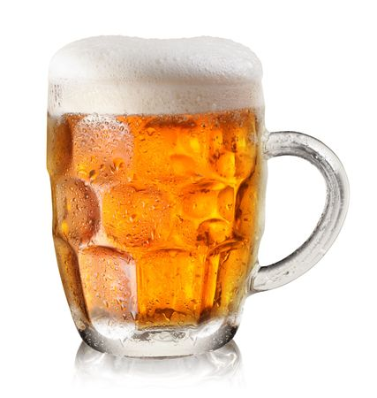 glass of beer on a white background photo