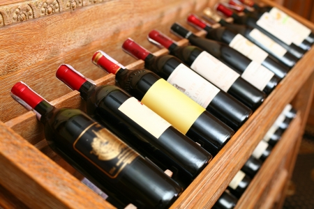 Closeup shot of wineshelf. photo