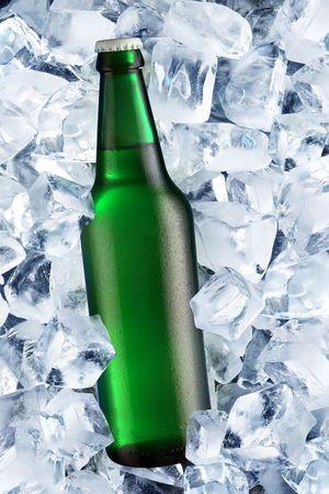 Bottle of beer on ice Stock Photo - 7164401
