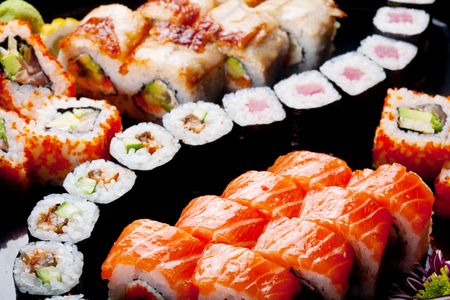sushi plate: Japanese sushi rolls. View from above. Stock Photo