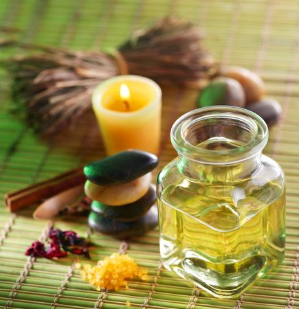 pampering: Still life with massage oil in the spa salon Stock Photo