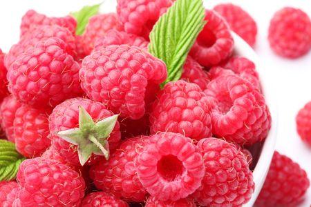 tempting: Crockery with  beautiful tempting raspberries.
