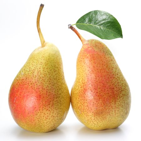 Two appetizing pears with a leaf. Isolated on a white background. photo