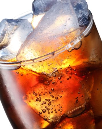 the carbonation: Glass of cola with ice cubes Stock Photo