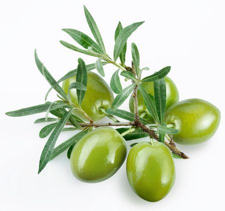 hoja de olivo: aceitunas verdes con una rama sobre un fondo blanco  Foto de archivo