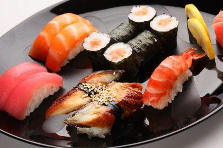 set of Japanese sushi on a plate photo
