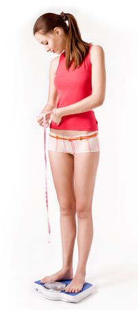 Girl on scales measuring her waist photo