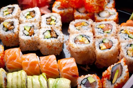 Sushi and rolls photo