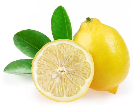 with lemon: Ripe lemon with slices and leaves on a white background.