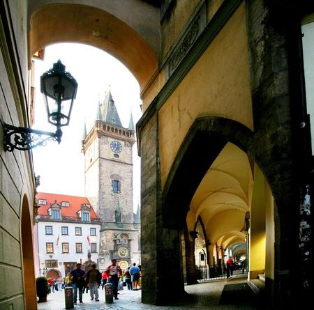 broach: Prague. On stree of old town.