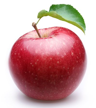 apple red: Ripe red apple with a leaf. Isolated on a white background. Stock Photo