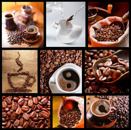 Collection of images with coffee.   photo