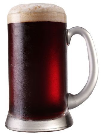 Frosty mug of  beer isolated on a white background. File contains a path to cut. photo