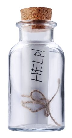 corked: Help message corked into the bottle Stock Photo
