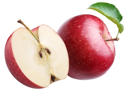 pomme rouge: Ripe red apple and half of one. Isolated on a white.