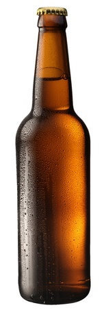drink bottle: Bottle of beer with drops on white background. The file contains a path to cut.