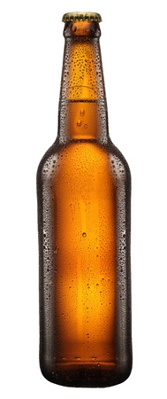 Bottle of beer with drops on white background. The file contains a path to cut. photo