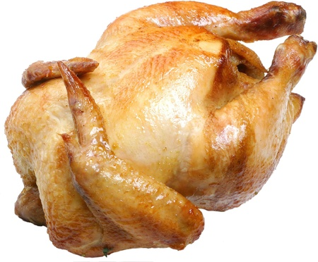 Geheel griiled kip geïsoleerd op een witte achtergrond.