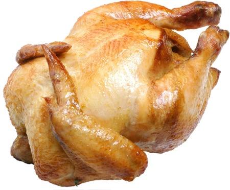Pollo griiled intero isolato su uno sfondo bianco.