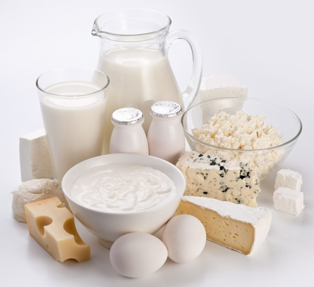 Protein products: cheese, cream, milk, eggs. On a white background.  photo