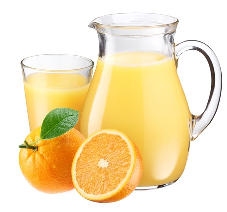 Full glass and jar of orange juice and fruits are near. Isolated on a white. photo