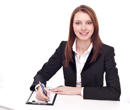 tezgâhtar: Positive bank official. Young woman sitting at the table.