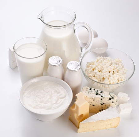 milk products: Different milk products. On a white background.