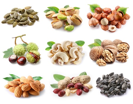 nut shell: �ollection of ripe nuts and seeds on a white background