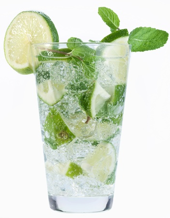 Cocktail with mint and lime on a white background. photo