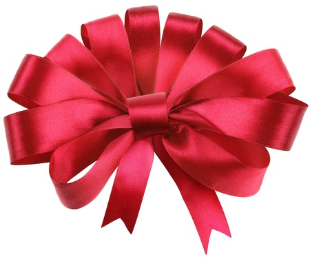 Big red bow isolated on white background. Stock Photo - 8658802