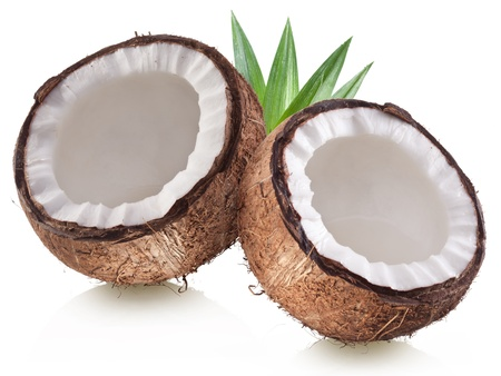 High-quality photos of coconuts on a white background. photo