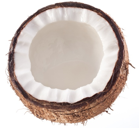 half cut: High-quality photos of coconuts on a white background.