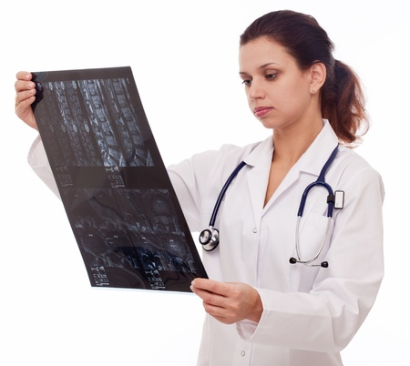 Doctor is looking at sectional image. Stock Photo